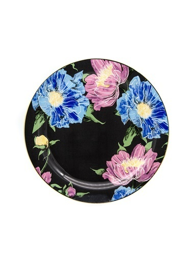 Marianna Flower Siyah Cam Servis Tabağı 3'Lü Siyah